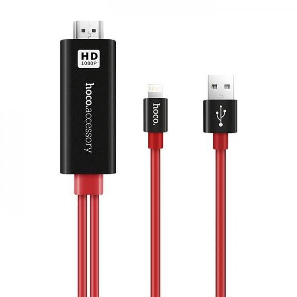HOCO Adapt Lightning->HDMI&USB BK&RD