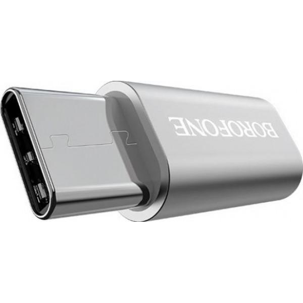 BF BV4 Adaptor mUSB->USB-Type-C Argintiu
