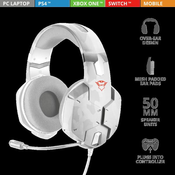 Trust GXT 322W Carus Gaming Headset alb