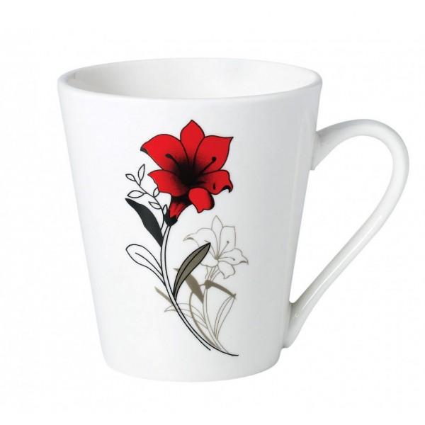 SET 12 CANI  310 ML, RED FLOWERS LEAF
