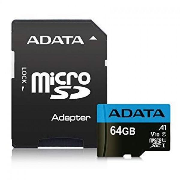 MEMORY MICRO SDXC 64GB CLASS10/W/A AUSDX64GUICL10A1-RA1 ADATA