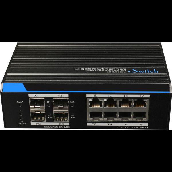 Switch ethernet industrial, full gigabit cu management L2, 8 porturi ethernet downlink + 4 porturi SFP uplink