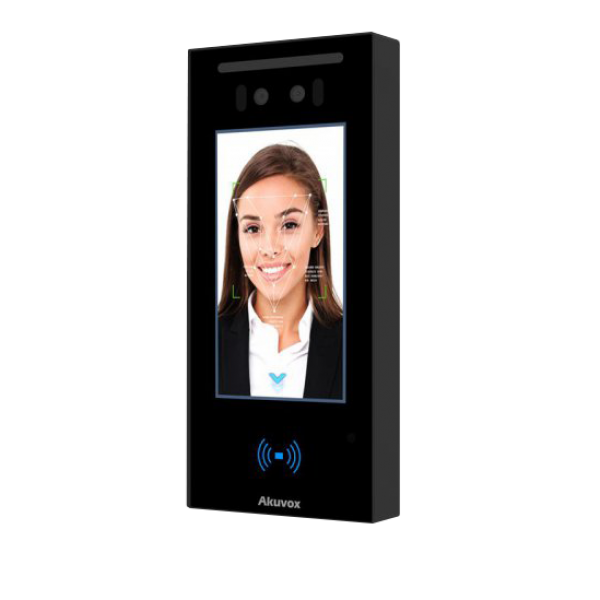 """Terminal de control acces IP cu ecran de 5"""" si camera duala,  recunoastere faciala, cod QR, bluetooth, NFC, carduri Mifare"""