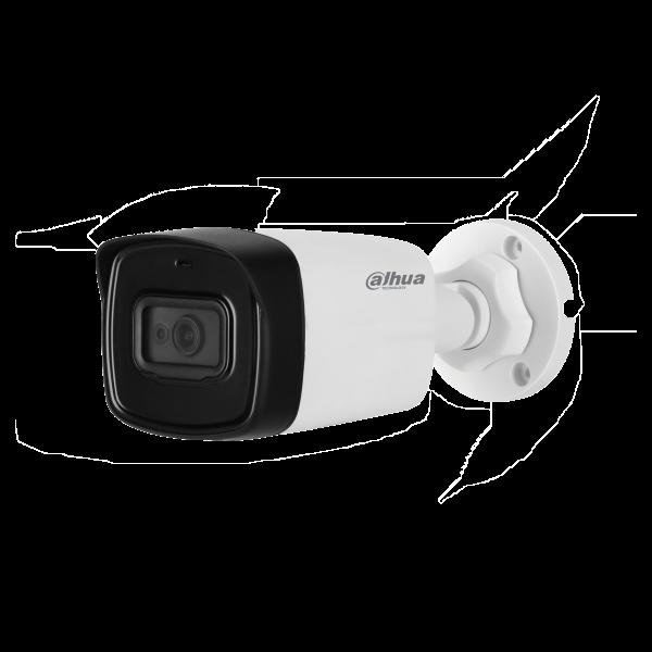Camera de supraveghere HDCVI Bullet, 2MP, IR 40m, 3.6mm, WDR, Dahua HAC-HFW2241TL-0360B