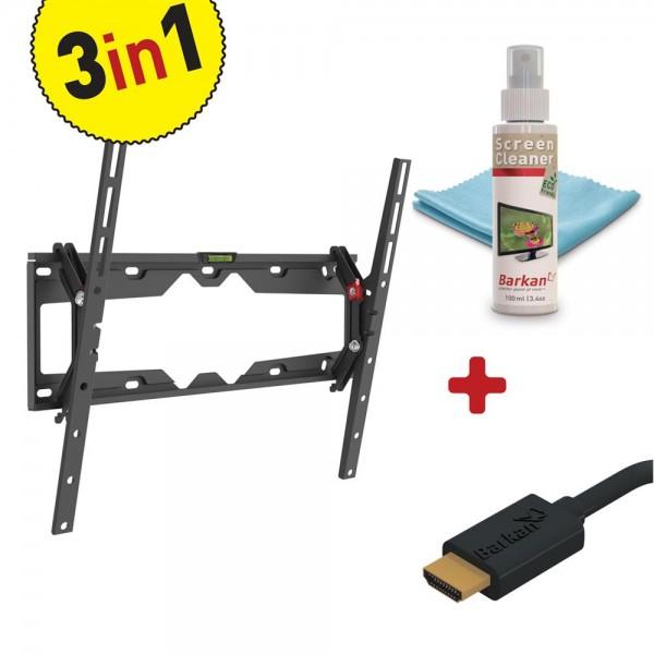 TILT FLAT/CURVED TV MOUNT+SCREEN CLEANER
