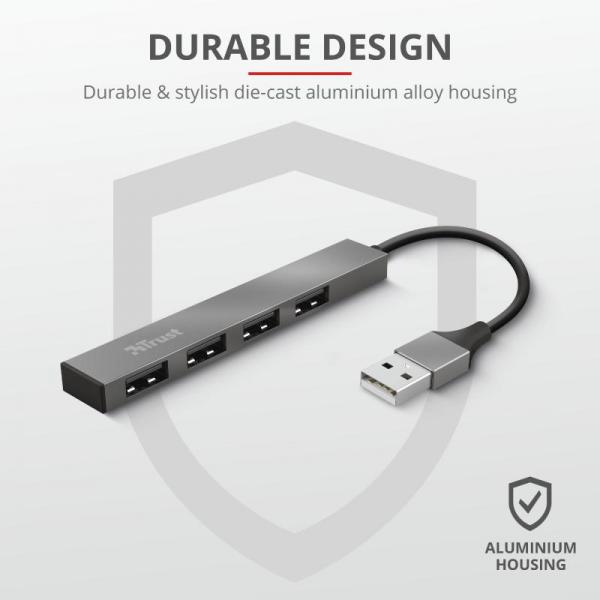Trust Halyx Aluminium 4 Mini USB Hub