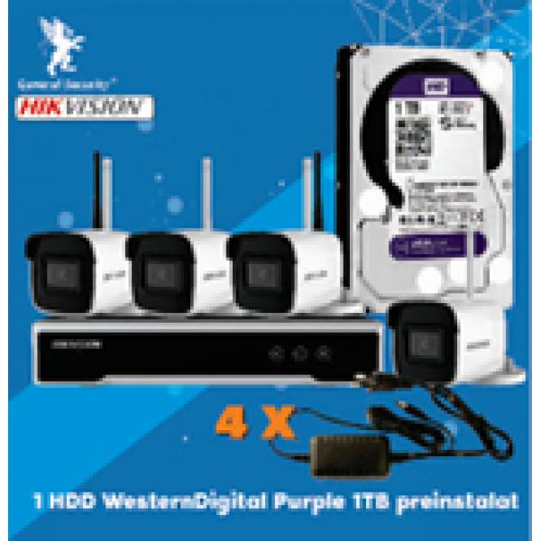 KIT 1XNVR WIFI 4CH, 4XCAM 4MP WIFI BULLET, HDD 1TB